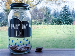 "Jar with the words ""Rainy Day Fund"" on it"