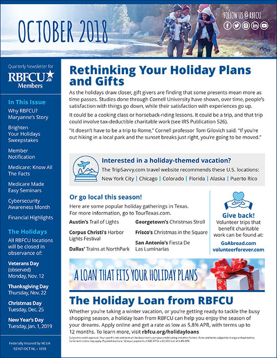 Cover of RBFCU's October 2018 Newsletter