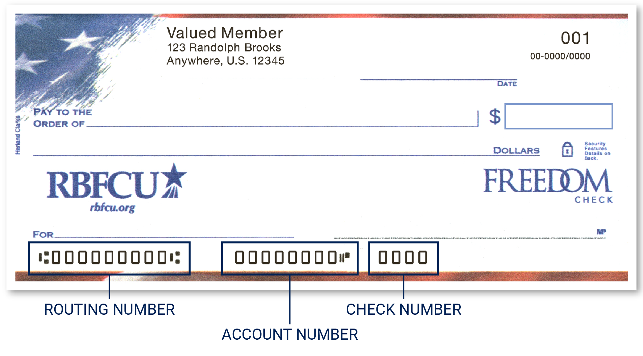 RBFCU check identify location of routing number, account number and check number