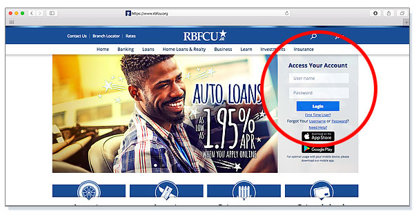 New rbfcu.org login box